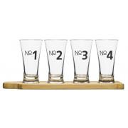 Glas för ölprovning 4 st, bricka i bambu från Sagaform