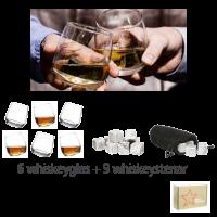 Gåvoset Whiskeyglas med rundad botten 6 st & 9 st täljstenar